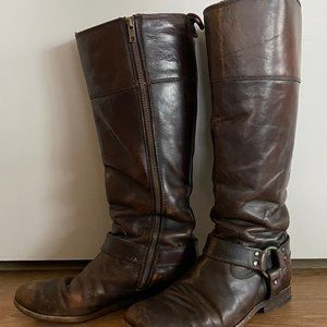 Frye 7.5 Tall Melissa Harness Zip Riding Boots